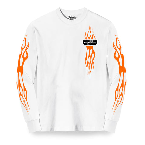 Flames Long Sleeve Tee / White
