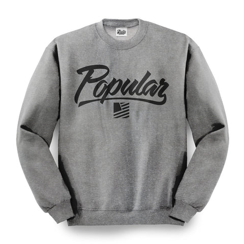 Popular Script Crewneck / Gunmetal Heather