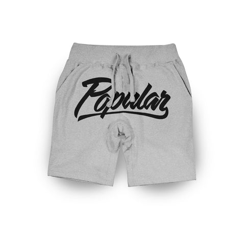 Popular Script Sweatshorts / Athletic Heather & Black