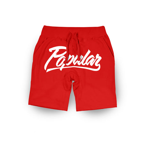 Popular Script Sweatshorts / Red