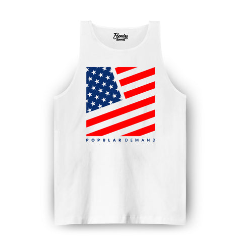 Freedom Square Flag Tank / White