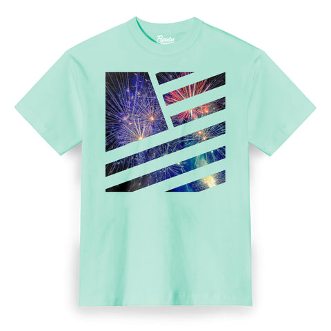 Fireworks Square Flag / Mint