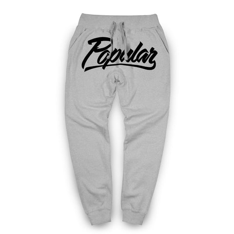 Popular Script Joggers / Athletic Heather & Black