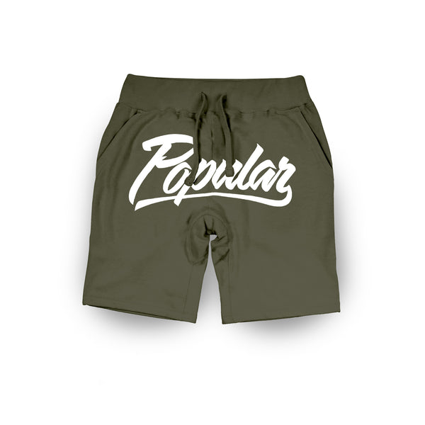 Popular Script Sweatshorts / Olive Green