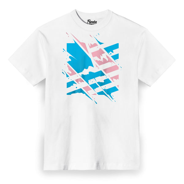 Shredded Square Flag Tee / White