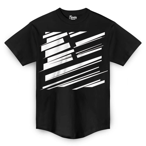 Square Flag Slash Scoop Tee / Black