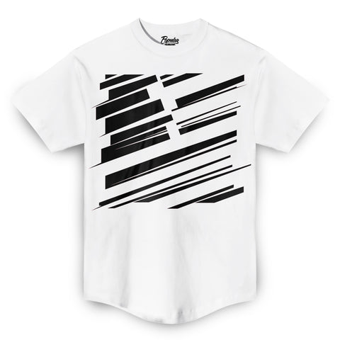 Square Flag Slash Scoop Tee / White
