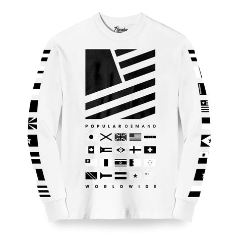Worldwide Square Flag Stack Long Sleeve / White