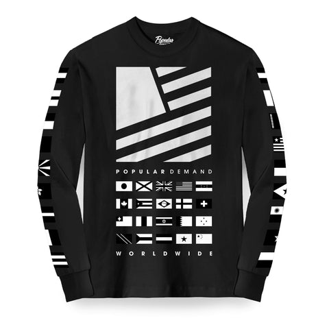 Worldwide Square Flag Stack Long Sleeve / Black