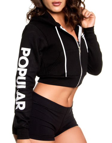 PD Bold Crop Zip-Up / Black
