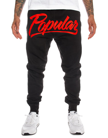 Popular Script Joggers / Black & Red