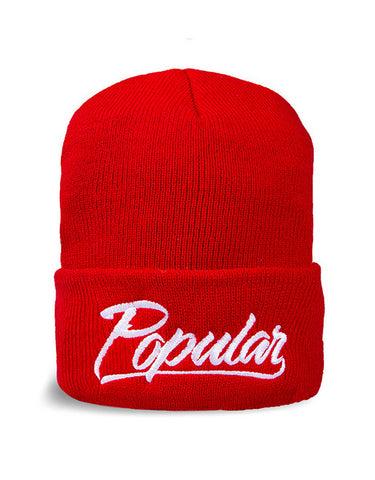 Popular Script Beanie / Red
