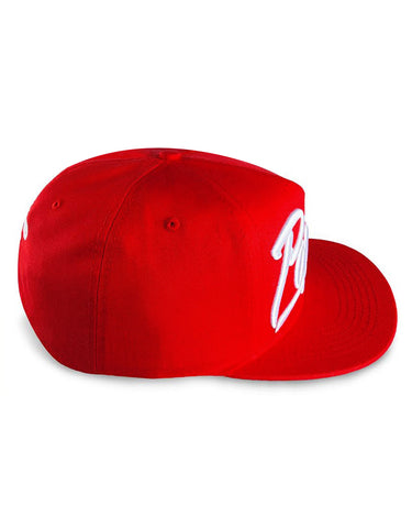 Popular Script Snapback / Red & White