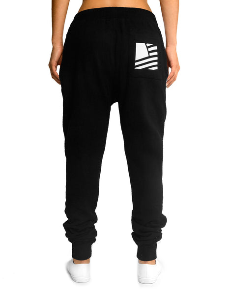 Women's Popular Script Joggers / Black & White