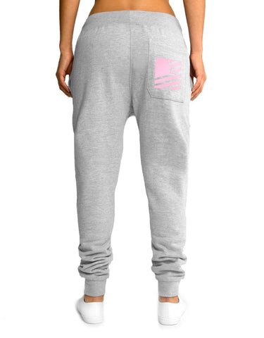 Women's Popular Script Joggers / Heather & Pink