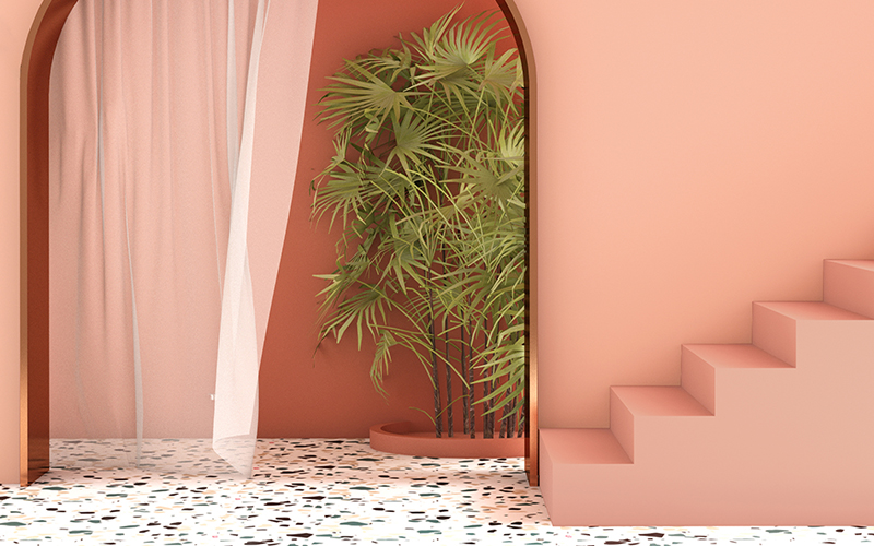Trendy stair case with an arch and terrazzo flooring pairs beautifully with Kelly-Moore range of pink paints