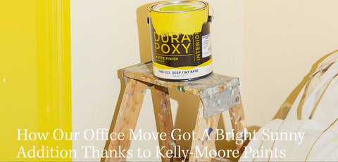 BobCut Mag article about Kelly-Moore Paints, an office makeover, in KM5183 Sun God bright yellow
