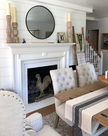 Vintage country cottage fireplace with horizontal paneling painted Kelly Moore Swiss Coffee white