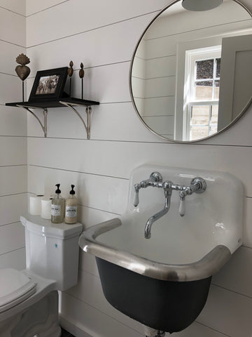Farm style powder room with white horizontal paneling painted Kelly Moore Swiss Coffee
