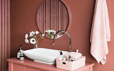 Kelly-Moore Paints KM5428 Himalayan Salt for a warm terracotta bathroom, bedroom, living room or kitchen