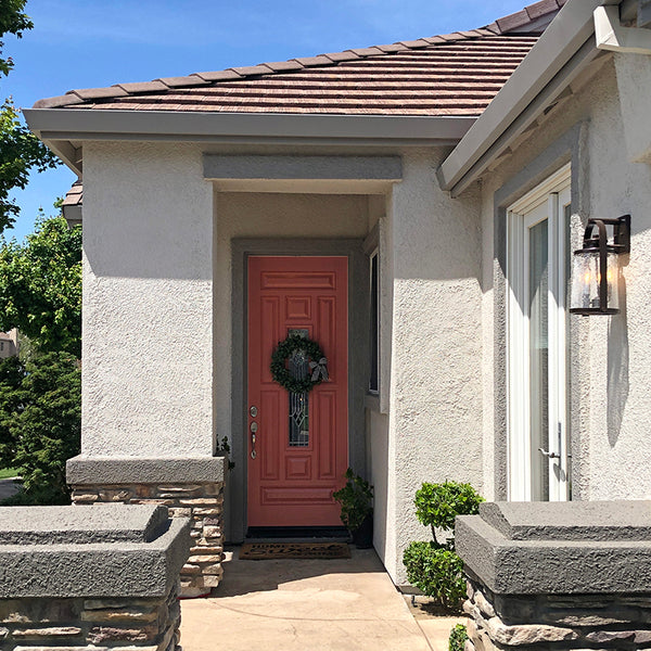 Kelly-Moore Paints stucco home exterior home makeover with KM4835 Sequoia Fog, KM4938 Grouchy Badger, and KM4930 Young Colt, and KM4425 Coral Garden
