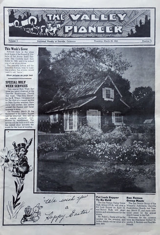 1945 Valley Pioneer newspaper from Danville California features a red farmhouse farm house built in 1941
