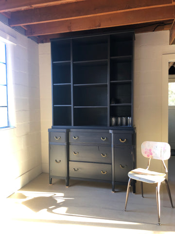 Shannon Kaye paints a flea market sideboard dresser and repurposed hutch with dark navy blue Kelly-Moore Paints KM4890 After Midnight