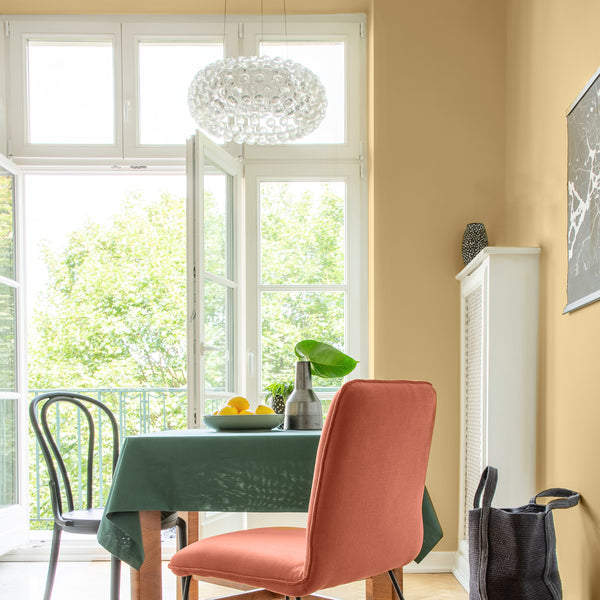 Warm honey gold yellow dining rooms walls with Kelly-Moore historic color HLS4291 Bungalow Maple