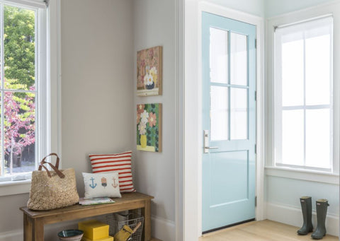 Kelly-Moore and Shannon Kaye feature a DIY painted light blue front door with KM5055  Cabana Bay