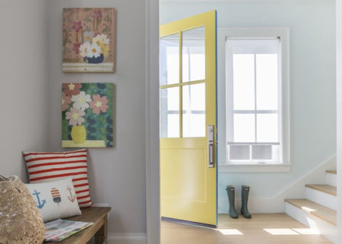 Kelly-Moore Paints invites Shannon Kaye to DIY paint a bright yellow front door with KM5203 Wake me up and KM29 Peacock Blue