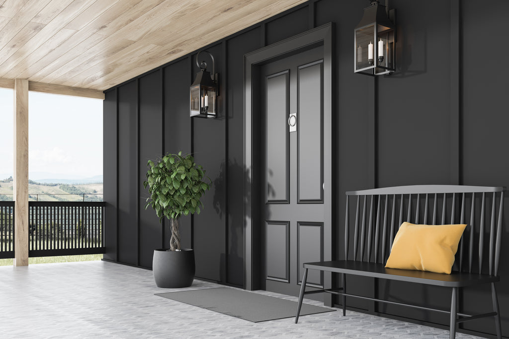 Clean, contemporary house exterior with a monochromatic black color palette for the walls, front door, and décor.