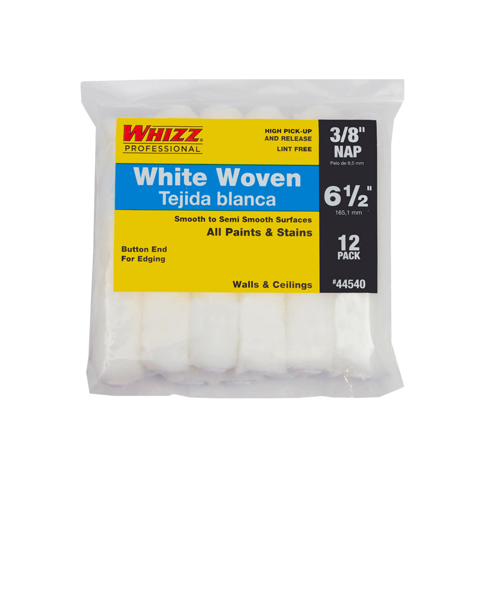 Whizz  White Woven 6.5 Inch x 3/8 Inch Nap Mini Roller Cover 12 Pack