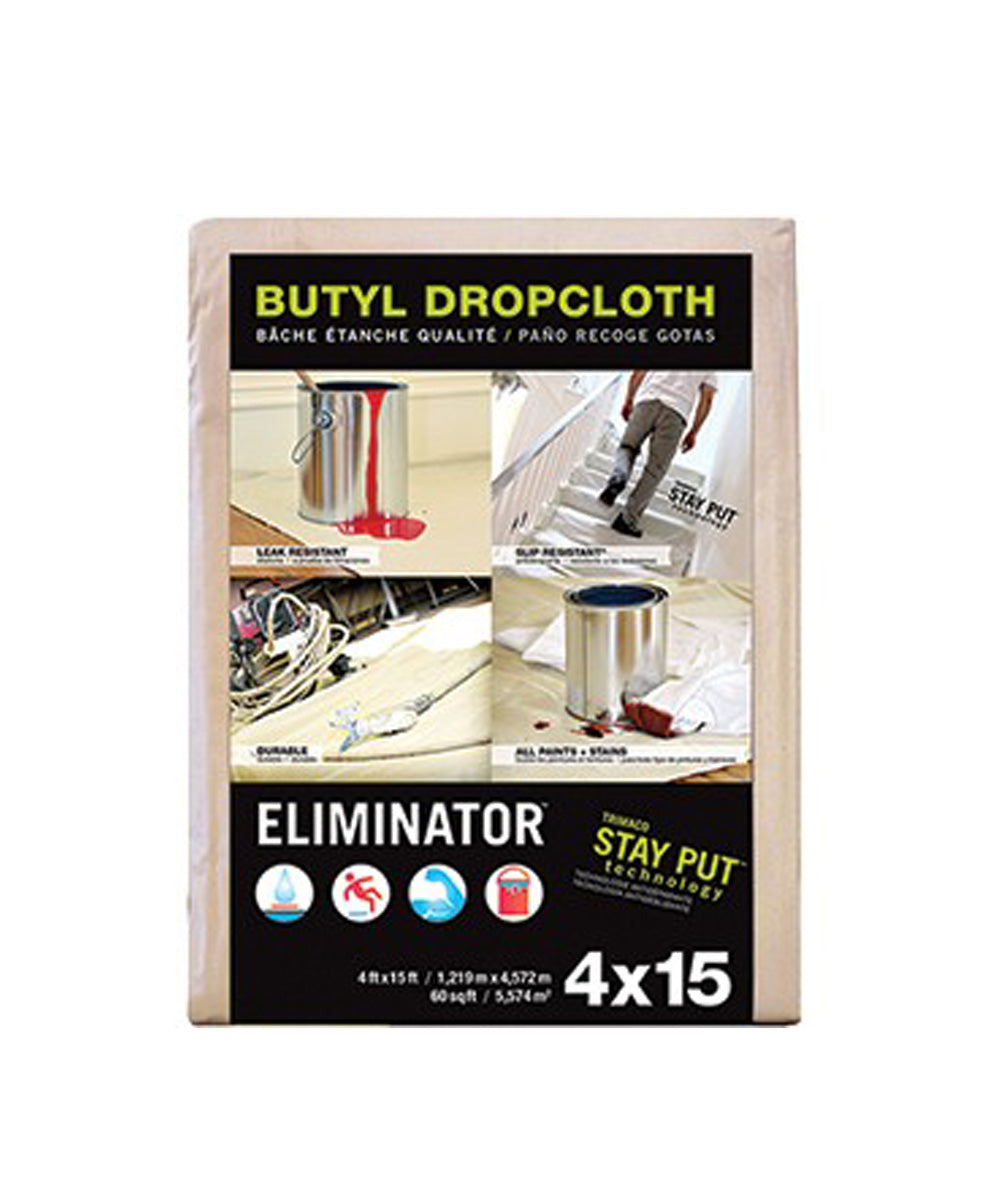 Trimaco Eliminator 4 Feet x 15 Feet Butyl Drop Cloth