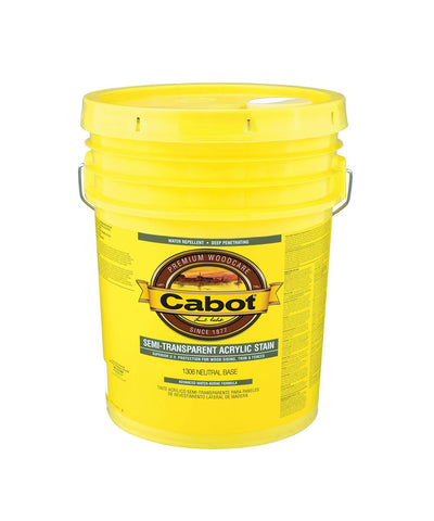 Cabot Semi Transparent Water Based Stain 5 Gallon Pail, available at Kelly-Moore Paints in CA, TX, NV & OK.