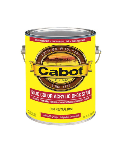 Cabot Solid Color Decking Acrylic Stain Gallon, available at Kelly-Moore Paints in CA, TX, NV & OK.