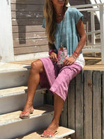 Round Neck Ombre/tie-Dye Cotton Casual Dresses