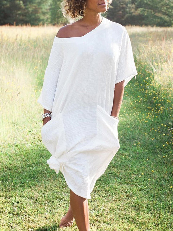 White Short Sleeve Cotton-Blend Dresses