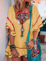 Geometric Short Sleeve Cotton Boho Dresses
