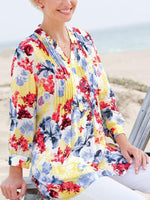 Floral Cotton Long Sleeve Sweet Shirts & Tops
