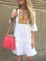 White Cotton Boho Dresses
