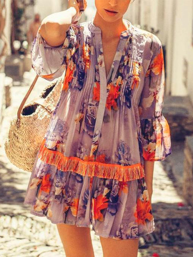 3/4 Sleeve Floral-Print Boho Shift Dresses