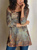 Long Sleeve Shift Floral V Neck Dresses