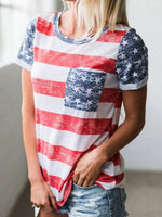 Red Stripes Short Sleeve Holiday Shirts & Tops