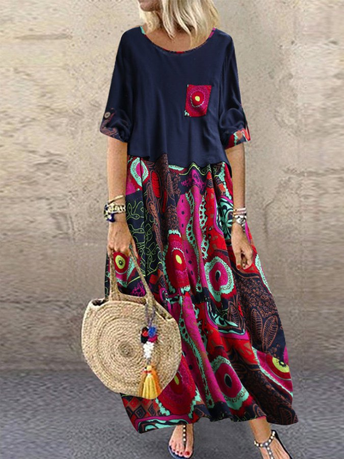 Crew Neck Boho Half Sleeve Dresses