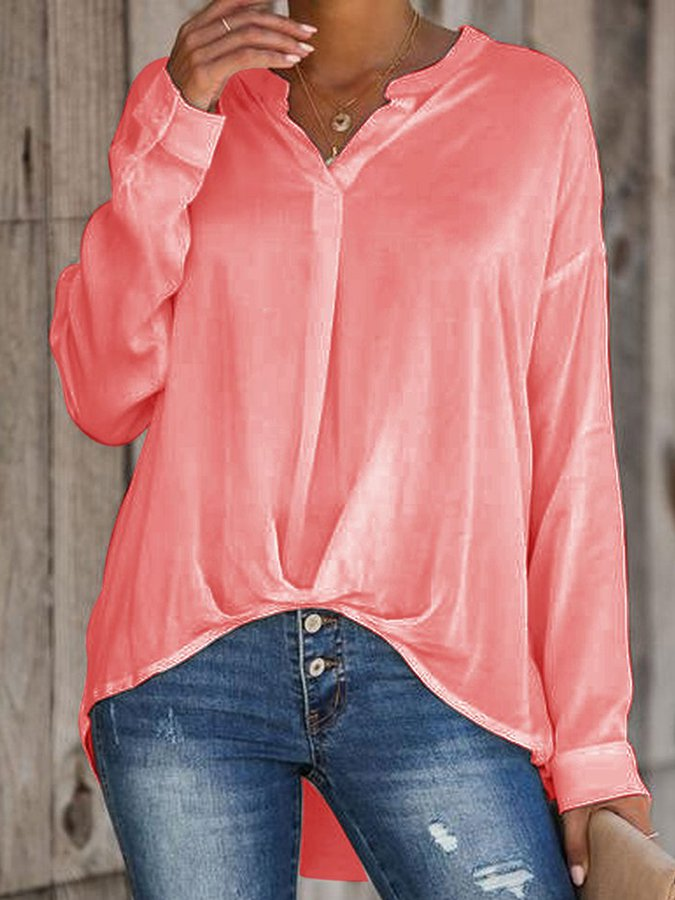 Long Sleeve Holiday Stand Collar Shirts & Tops