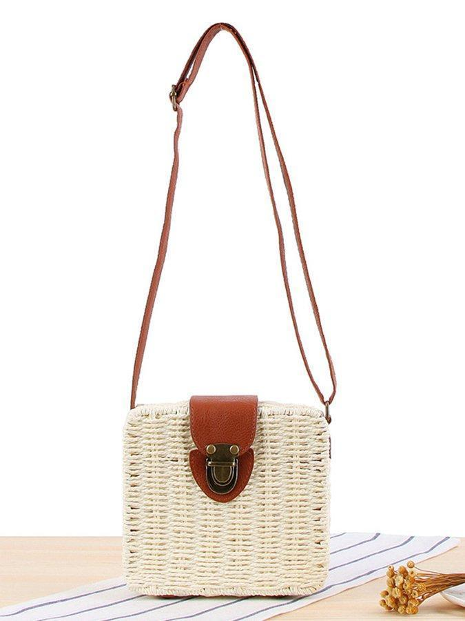 Candy-colored sloping straw bag