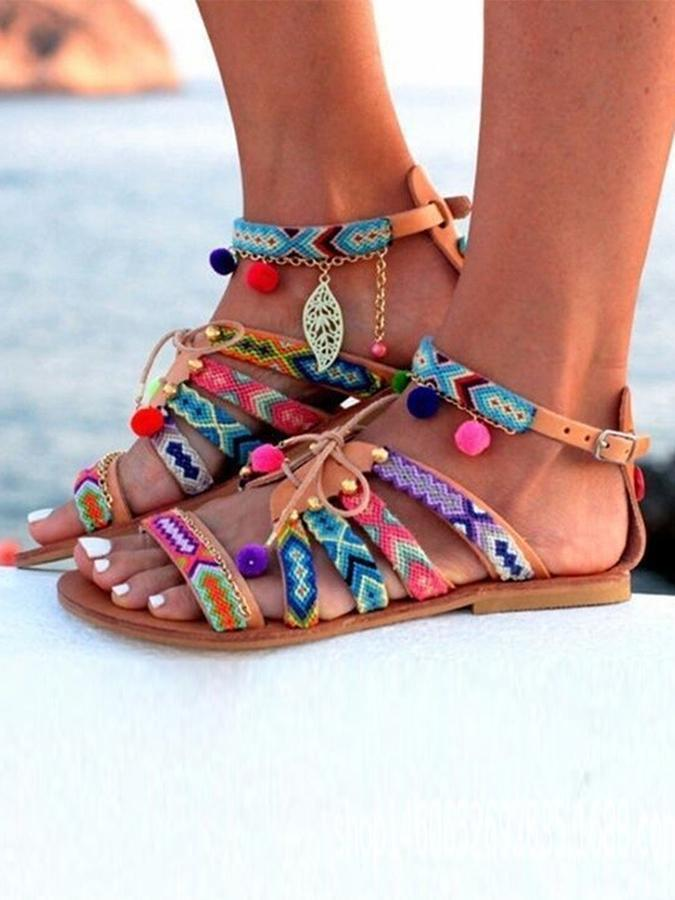 Brown Adjustable Buckle Beach Summer Shoes