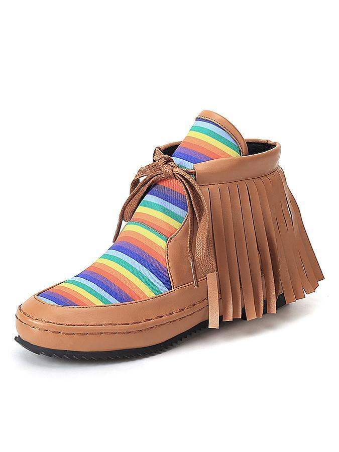 Comfortable Flat Heel Striped Fringe Boots