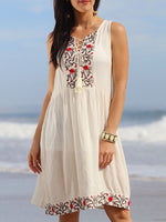 White Sleeveless Cotton-Blend Embroidered V Neck Dresses