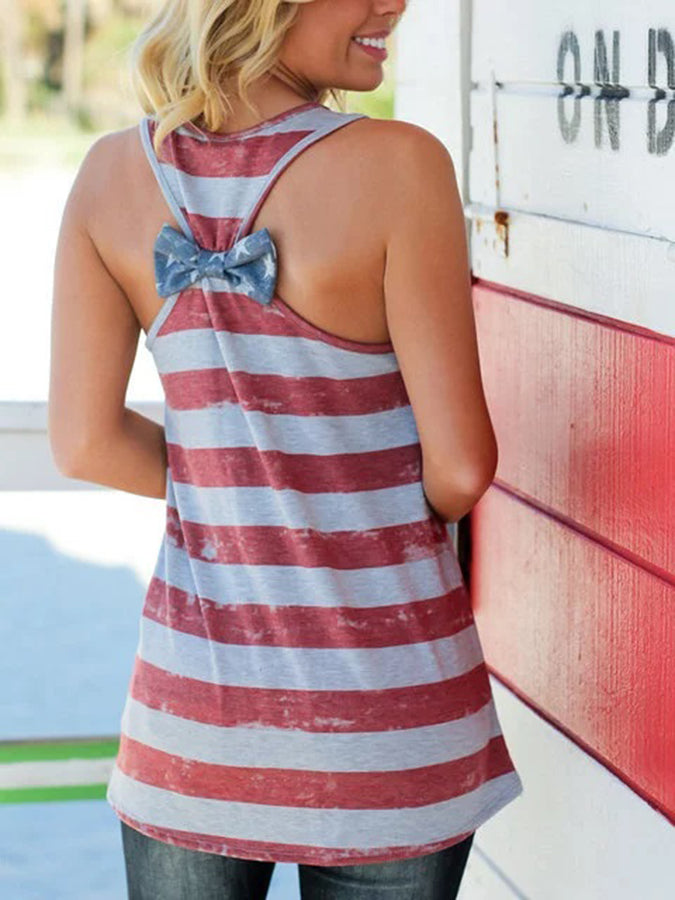 Red Stripes Crew Neck Short Sleeve Shirts & Tops